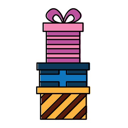 present colored gift boxes pile celebration vector illustration 向量圖像