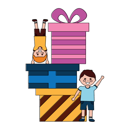 happy little boys with differents gift boxes celebration vector illustration Çizim