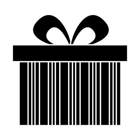 cute gift box wrapped ribbon bow vector illustration black image design Illustration