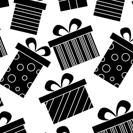 Decoration seamless pattern celebration gift boxes vector illustration black image design. Ilustração