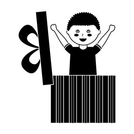 Cute happy boy coming out of inside gift box surprise vector illustration black image design.