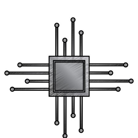 마더 보드 회로 마이크로 프로세서 칩 기술 벡터 그림 그리기 디자인.