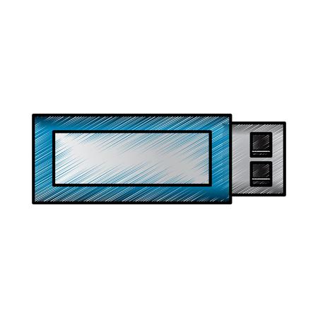 USB flash memory backup technology icon vector illustration drawing design Illustration