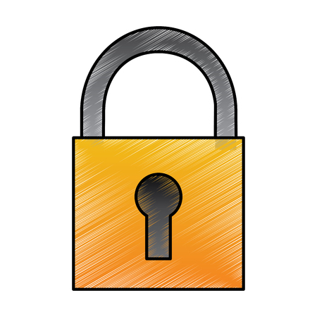 Security padlock technology protection system icon vector illustration drawing design Illustration