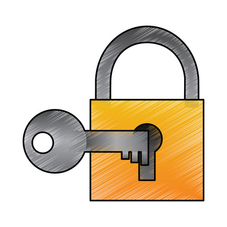 Technology padlock key protection security access vector illustration drawing design Ilustrace