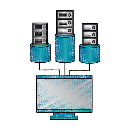 Monitor computer database storage technology vector illustration drawing design
