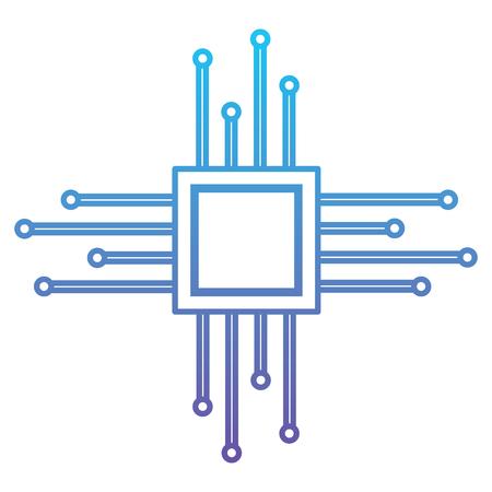 マザーボード回路マイクロプロセッサチップテクノルギーベクトルイラスト青と紫の線設計