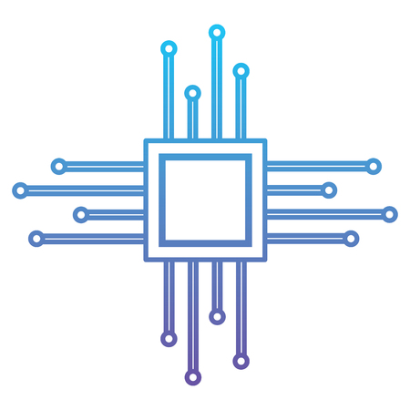 Motherboard circuit microprocessor chip technolgy vector illustration blue and purple line design