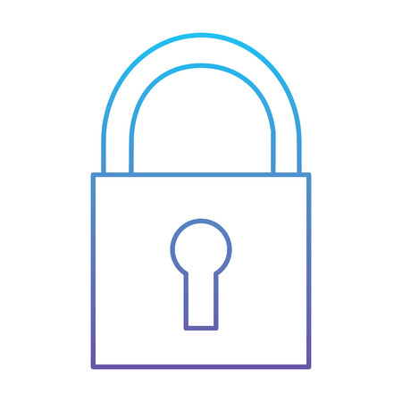 Security padlock technology protection system icon vector illustration blue and purple line design