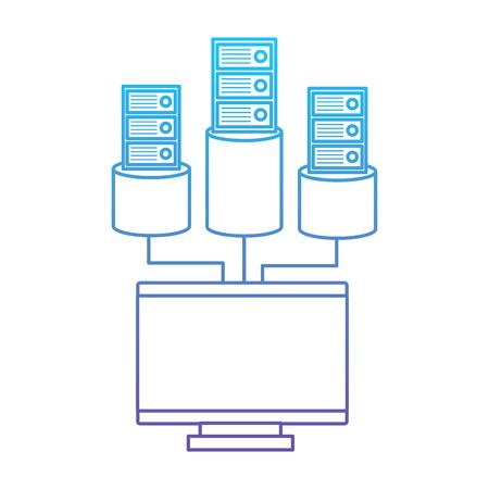 Monitor computer database storage technology vector illustration blue and purple line design Ilustração