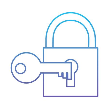 Technologie hangslot sleutel bescherming veiligheid toegang vector illustratie blauwe en paarse lijn ontwerp Stock Illustratie