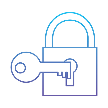 Technology padlock key protection security access vector illustration blue and purple line design Çizim