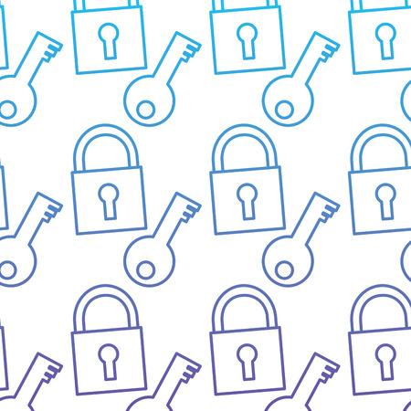 Seamless pattern technology padlock key security protection vector illustration