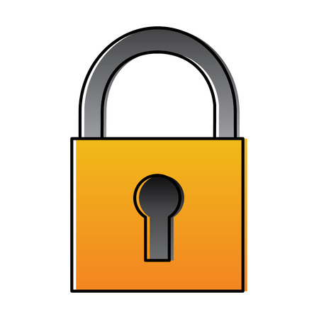 Security padlock technology protection system icon vector illustration Ilustração