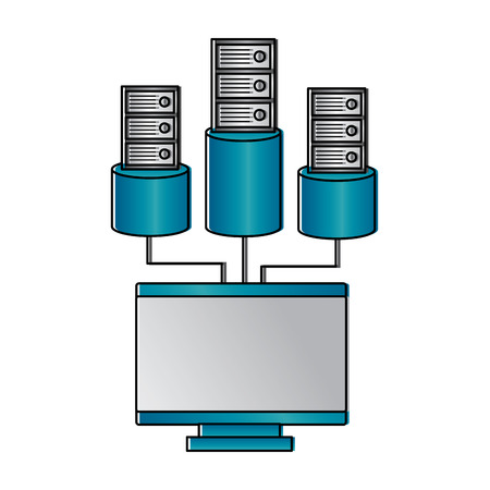 Monitor computer database storage technology vector illustration