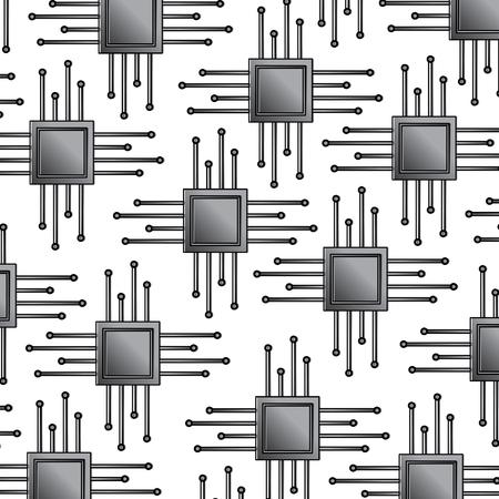 원활한 패턴 기술 마더 보드 회로 연결 벡터 일러스트 레이 션.