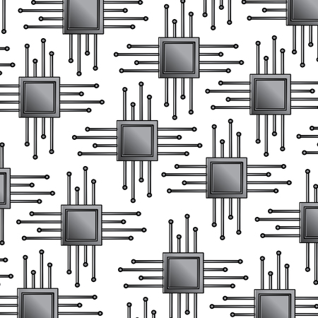 Seamless pattern technology motherboard circuit connection vector illustration.