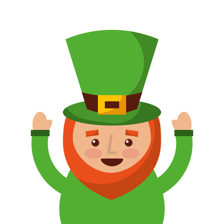 st. Patricks day portrait of a leprechaun with arms up vector illustration