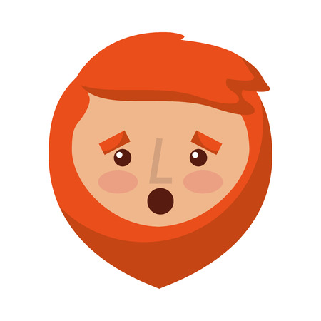 cartoon surprised face man beard character vector illustration Illustration