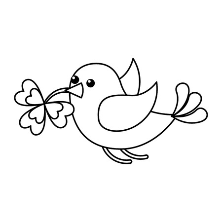 bird flying with clover in beak vector illustration outline design Illustration