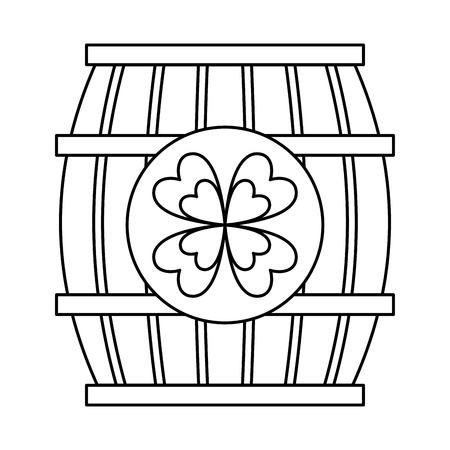 wooden barrel with clover concept vector illustration outline design