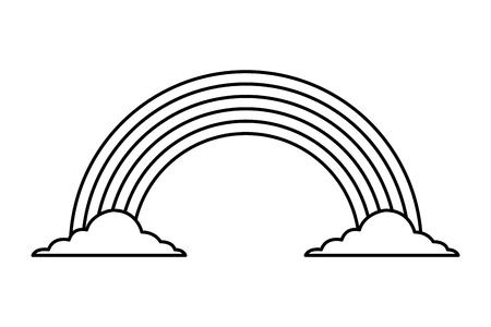 虹色雲魔法ファンタジーベクトルイラストアウトラインデザイン  イラスト・ベクター素材