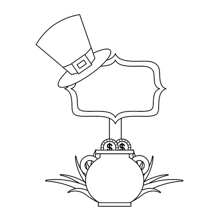 cauldron gold coins hat and sing board vector illustration outline design Banque d'images - 94542809