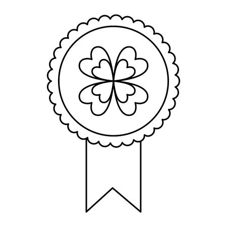 green rossette clover ornament medal vector illustration outline design