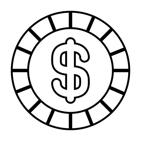 coin money dollar cash icon vector illustration outline design