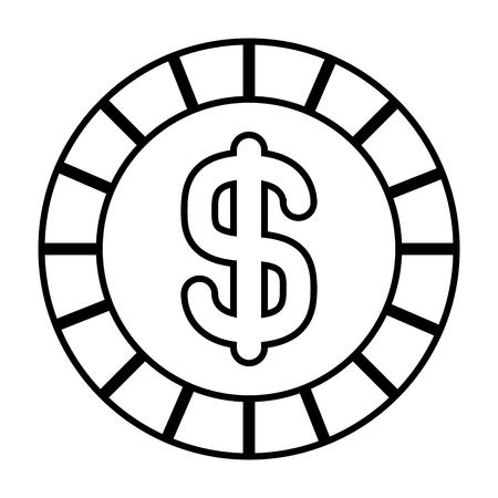 coin money dollar cash icon vector illustration outline design