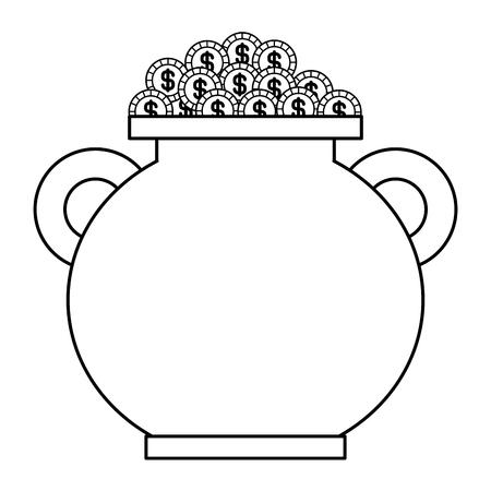 Caldeirão marrom moedas cheias tesouro vector design de contorno ilustração Foto de archivo - 94544123