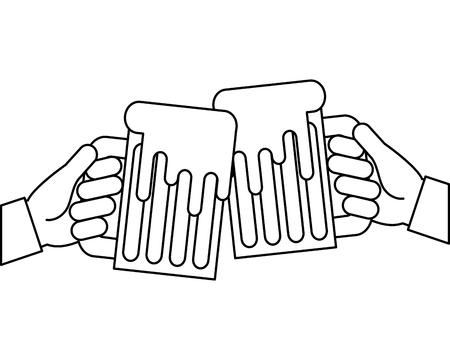 hands holding beer mug foam vector illustration outline design Иллюстрация