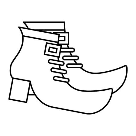 レプラコーンベクトルイラストアウトラインデザインのペアブーツシューズ