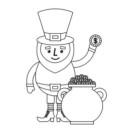 Cartoon leprechaun holding coin and pot money st patricks vector illustration outline design