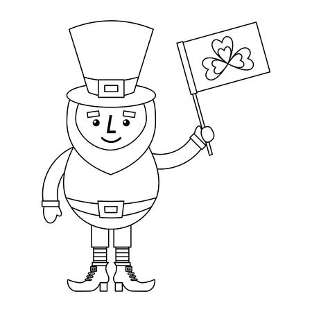 Leprechaun character holding flag with clover vector illustration outline design