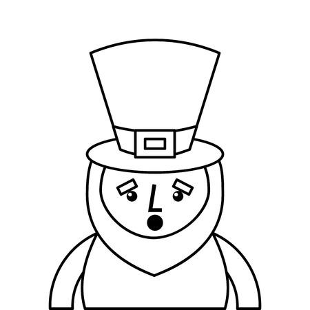 st. patricks day portrait of a surprised leprechaun vector illustration outline design Ilustrace