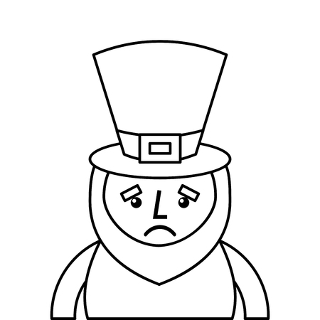 st. patricks day portrait of a sad leprechaun vector illustration outline design Illustration