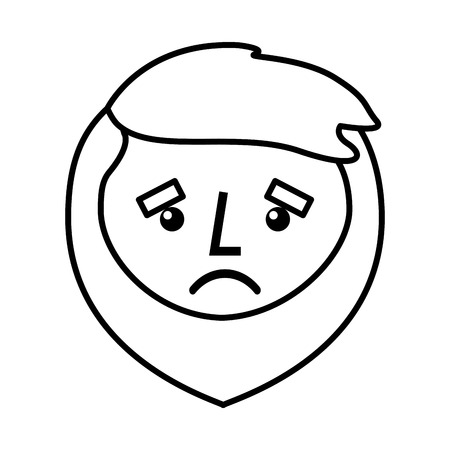 cartoon sad face man beard character vector illustration outline design Illustration