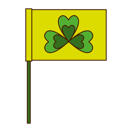 Green flag with clover symbol vector illustration