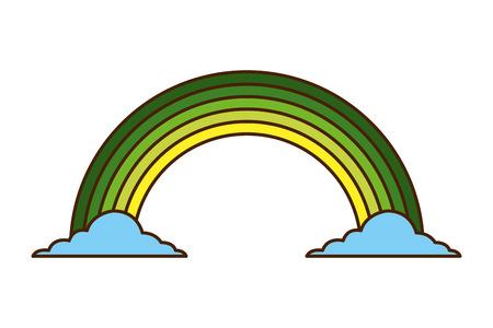 緑の虹色雲魔法ファンタジーベクトルイラスト  イラスト・ベクター素材