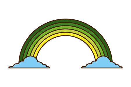 Green rainbow color cloud magic fantasy vector illustration