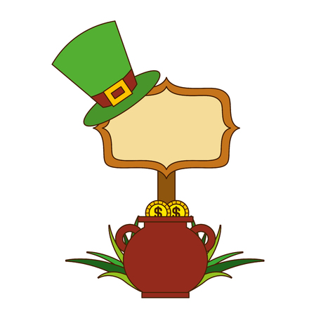 cauldron gold coins green hat and sing board vector illustration Banque d'images - 94544279