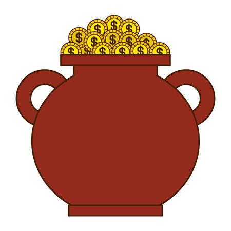 Ilustração em vetor tesouro cheio de moedas de ouro marrom caldeirão Foto de archivo - 94544241