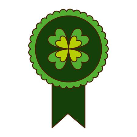 green rossette clover ornament medal vector illustration