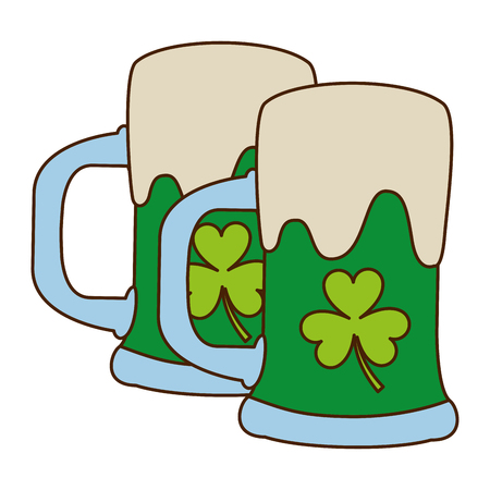 two green beer glass clover drink alcohol vector illustration