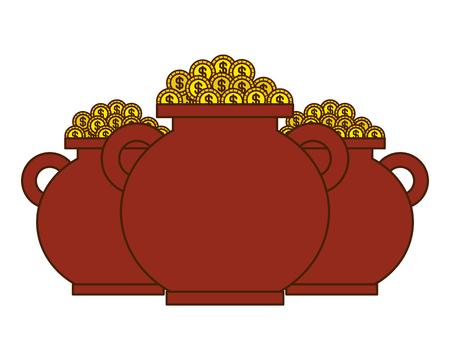 three brown pot full gold coins treasure vector illustration