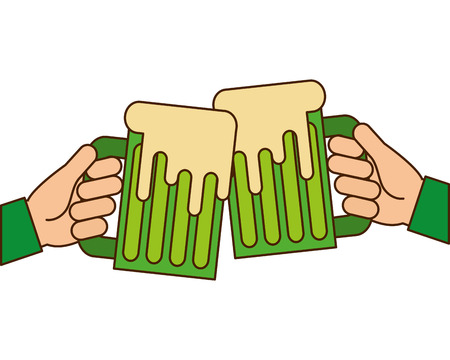 hands holding green beer mug foam vector illustration