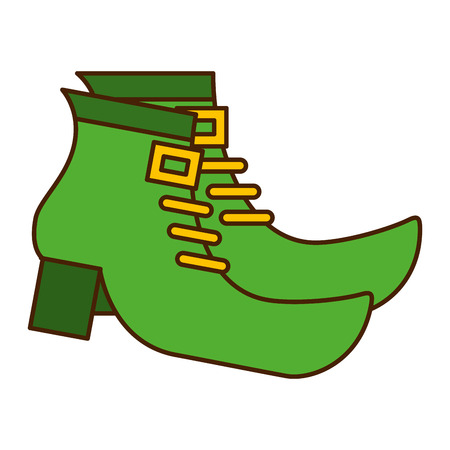 Pair green boot shoes of leprechaun vector illustration