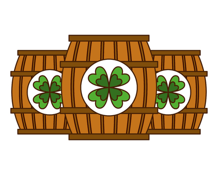 three wooden barrel drink clover vector illustration Imagens - 94544651