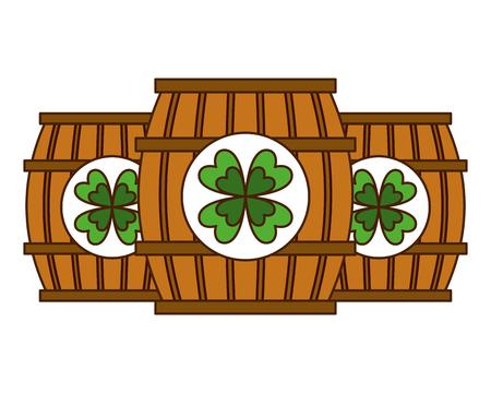 Três barril de madeira bebida ilustração vetorial de trevo Foto de archivo - 94544651